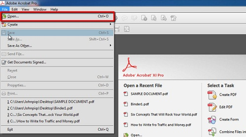 Opening a pdf file in Acrobat