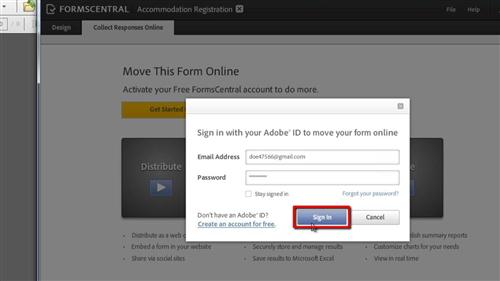 Signing in with your Adobe details