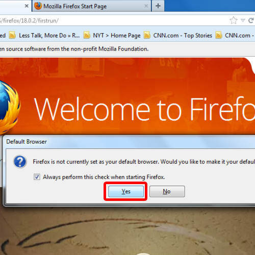 View Firefox in default state