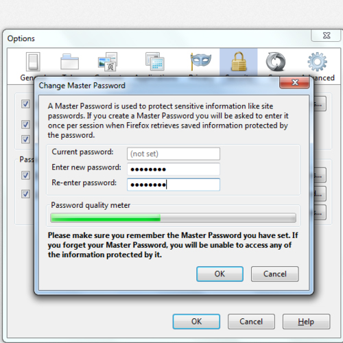Setting up Master Password