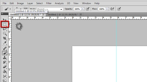 Using the marquee tool to select the front page of the card