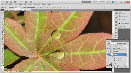 The finished water drops appearing on the image