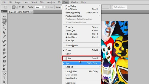 Making the rulers visible in Photoshop