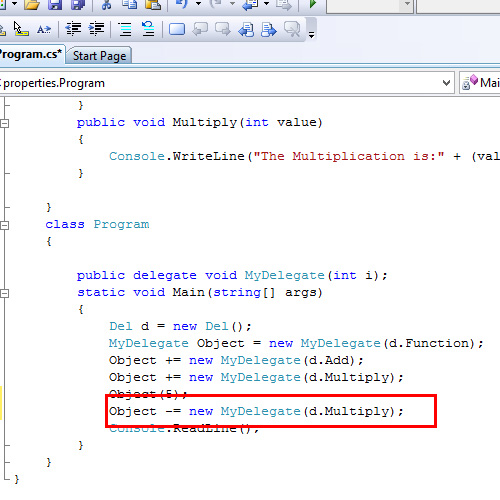 Code – Remove method from delegate