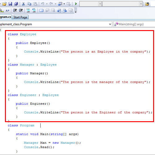 Code – Implementing class