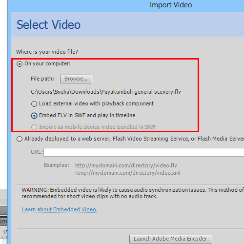 Selecting video