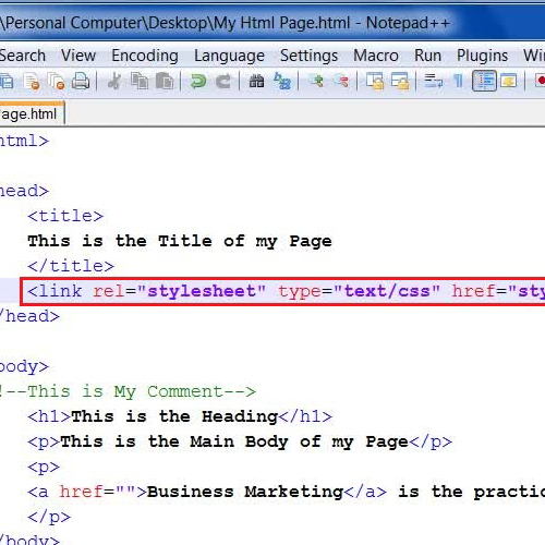 Create a link of the style sheet in the html page