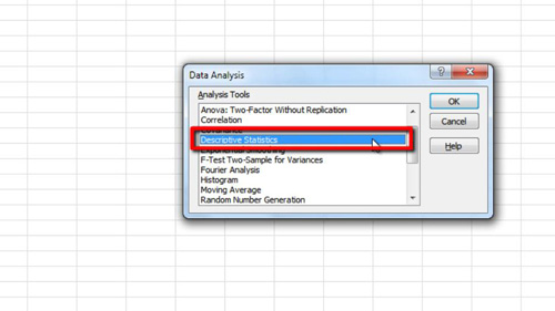 Choosing the Descriptive Statistics option