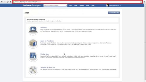 go to developer's page in facebook