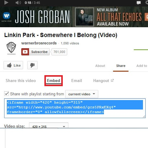 Getting the Embedded code from the YouTube Video