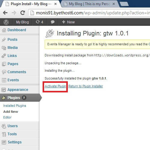 Activating the installed Plugin