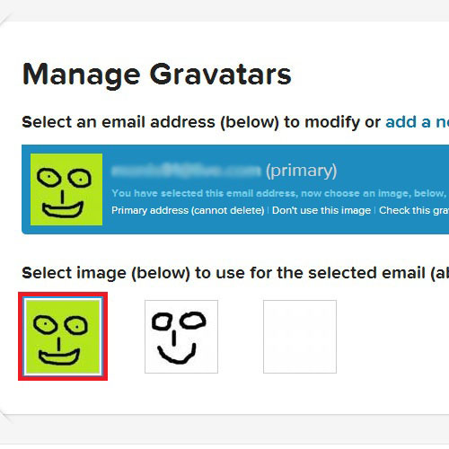 Selecting the Gravatar from Available Images
