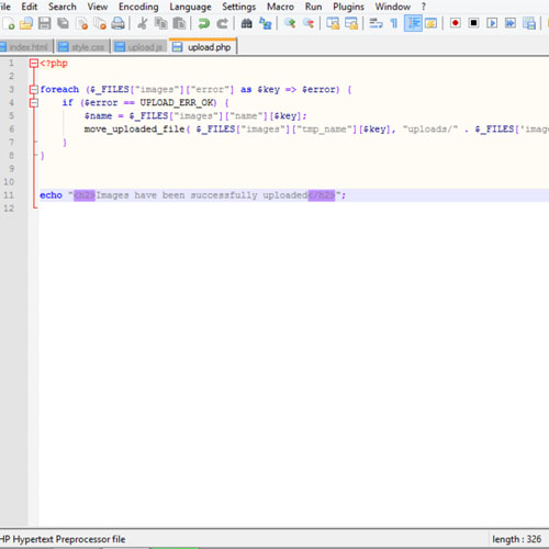 The PHP upload function code
