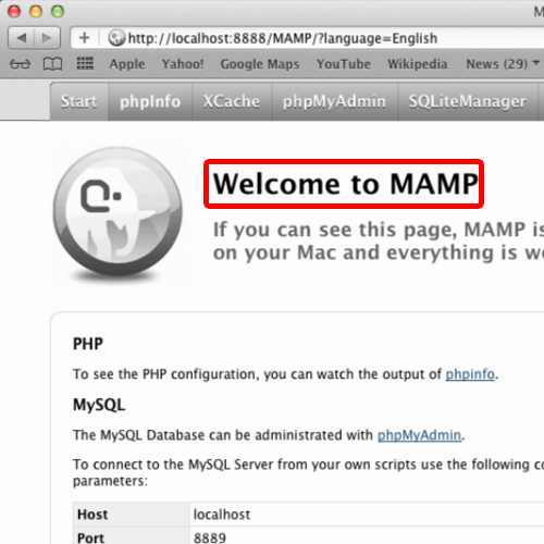 Mamp in browser