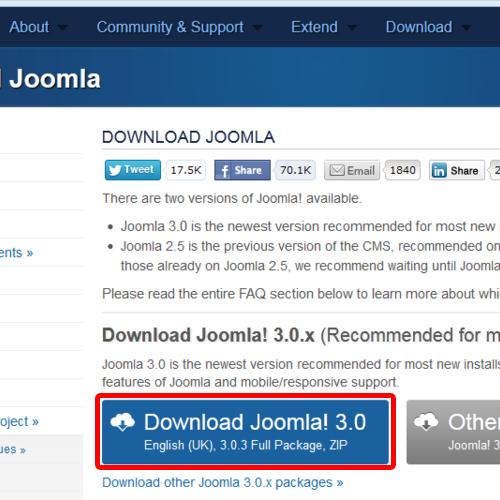 Download latest version of Joomla