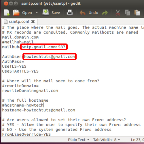 Insert email details in config file