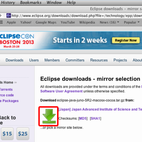 Downloading eclipse