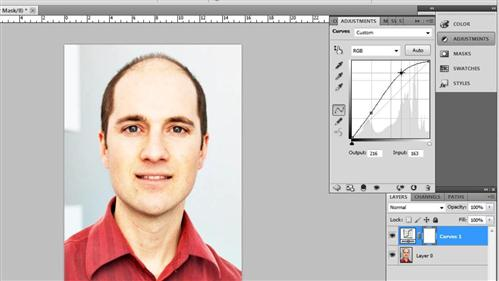 Adjusting the curves on the image