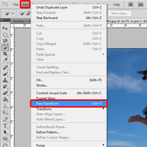 Transform the layer and insert a layer mask