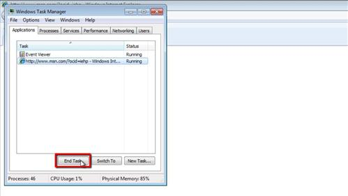Choosing to end a task in Task Manager