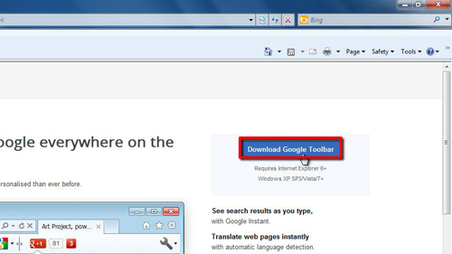 Downloading the Toolbar for Internet Explorer
