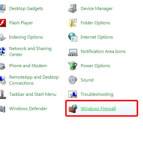 Go to Windows Firewall