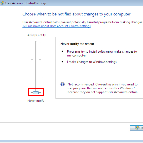 Configuring UAC settings