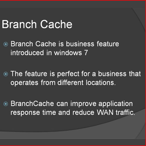 What is branch cache?