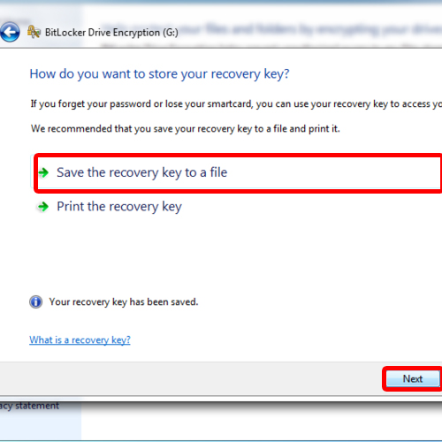 Set destination for recovery file