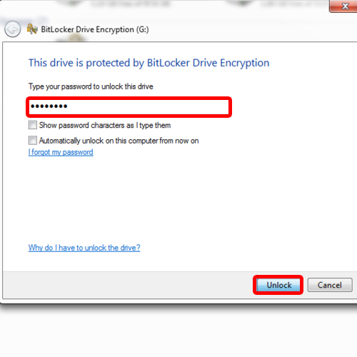 Enter password to access encrypted drive