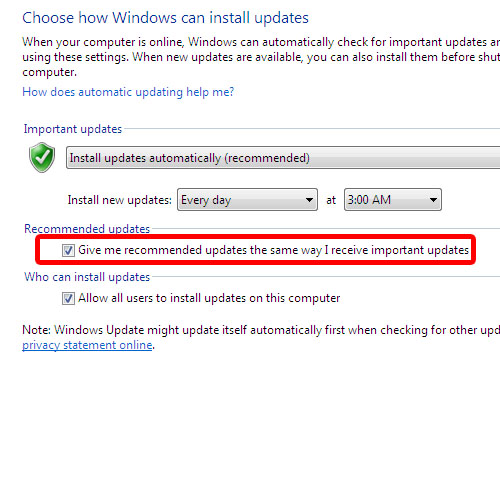 Configuring windows update settings