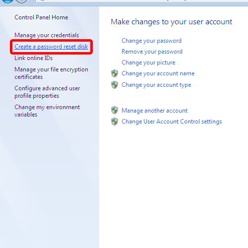 Create password reset disk option