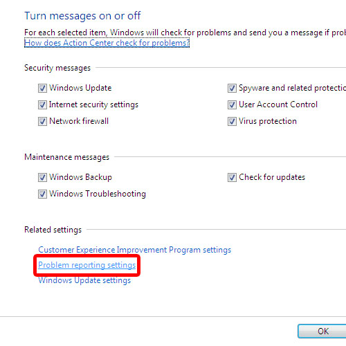 Go to Problem Reporting Settings