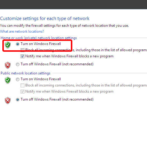 Turn windows firewall on for private networks