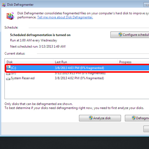 Select the drive you want to defragment