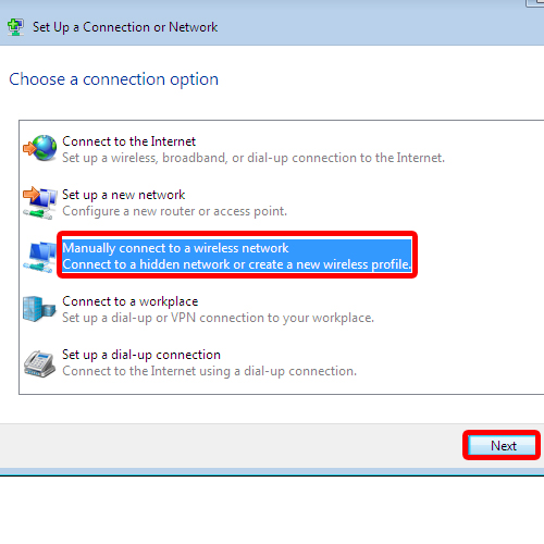 Connect manually to a wireless network