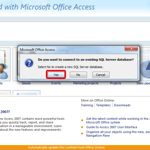 how to create a microsoft access project