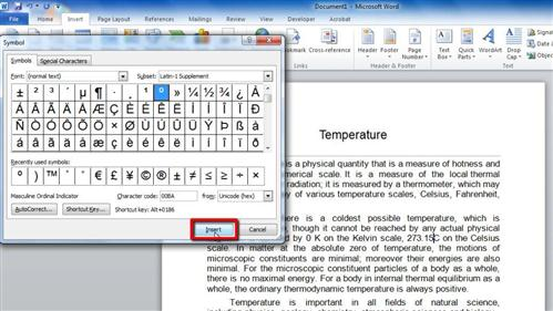 Degrees Degrees Symbol In Word