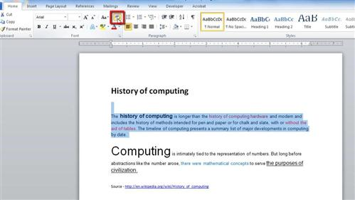 Clearing the formatting of a section