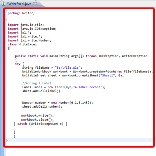 Main code for Writing Operation