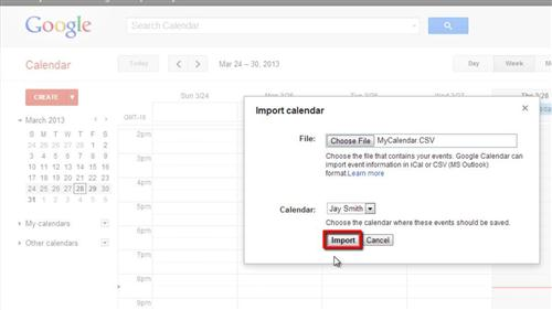 Importing the calendar to Google
