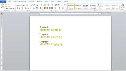Creating the table of contents in Word