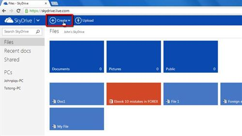 Creating a new file in SkyDrive