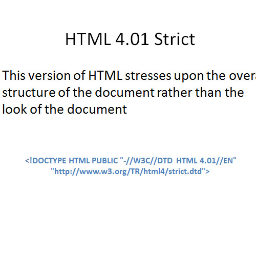 Doctype HTML 4.01 Strict