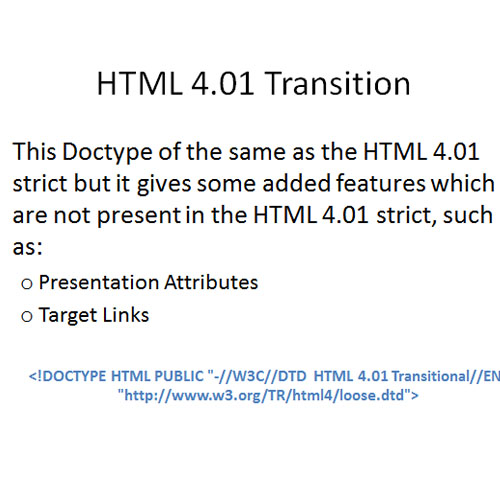 Doctype HTML 4.01 Transition