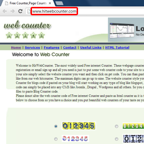 Free HTML Hit Counter website