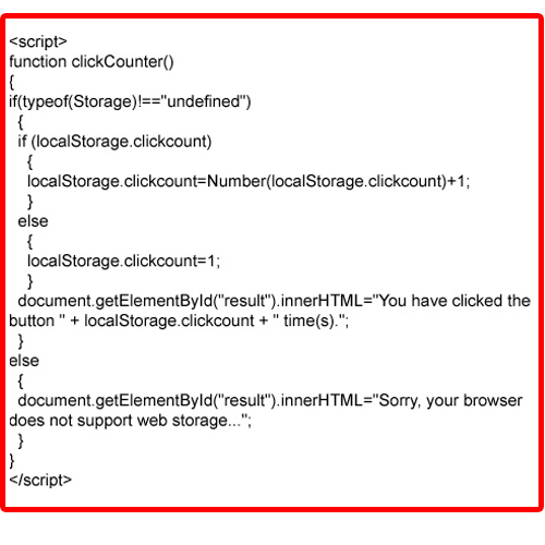 Local Storage in an Example (Header Code)