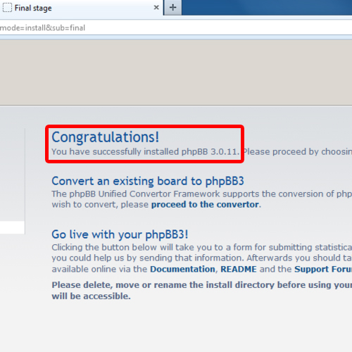 phpBB installation completed