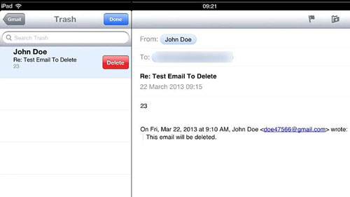 Permanently deleting the email