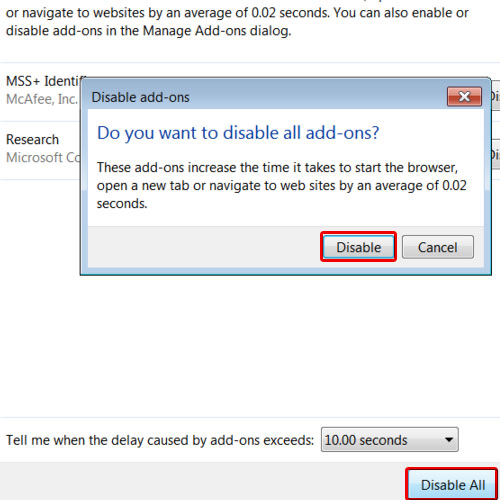 Disable All Add-Ons